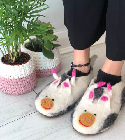 Very Amusing Felted Cow Slippers - Adult Sizes