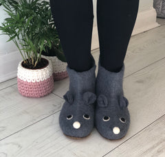 Grey Mouse Slippers in adult sizes, soft felt booties