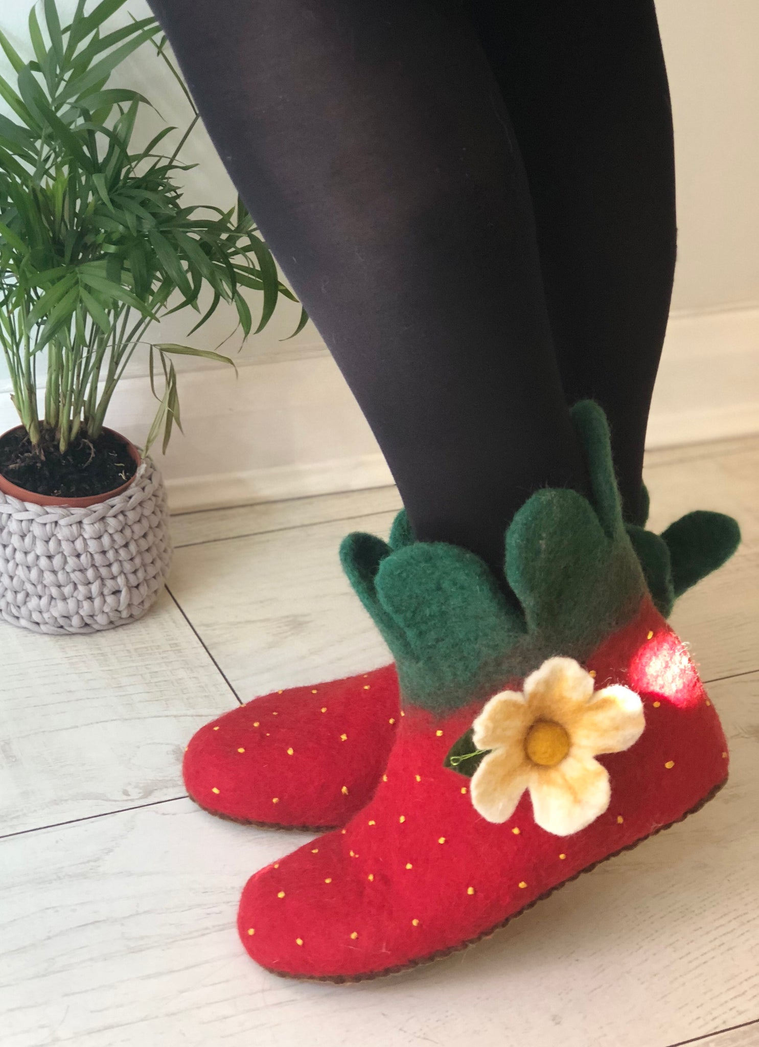 Berry Special Felted Strawberry Slippers - Adult Sizes