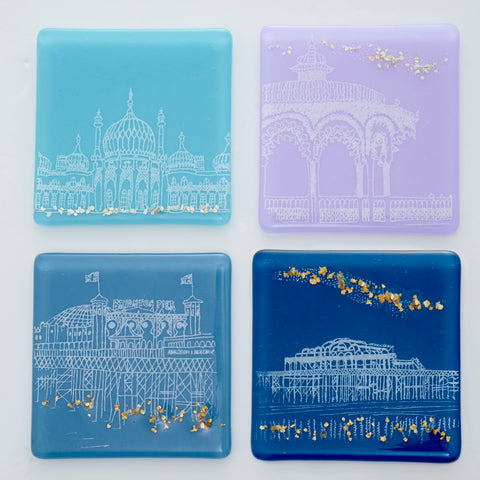 Set of Four Multi Coloured Brighton Glass Coasters