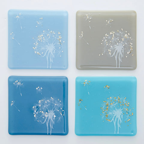 Set of Four 'Make a Wish' Glass Coasters