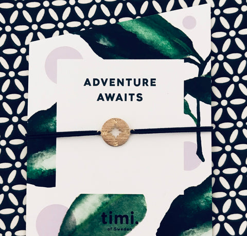 'Adventure Awaits' Gold Compass Wish/Friendship Bracelet