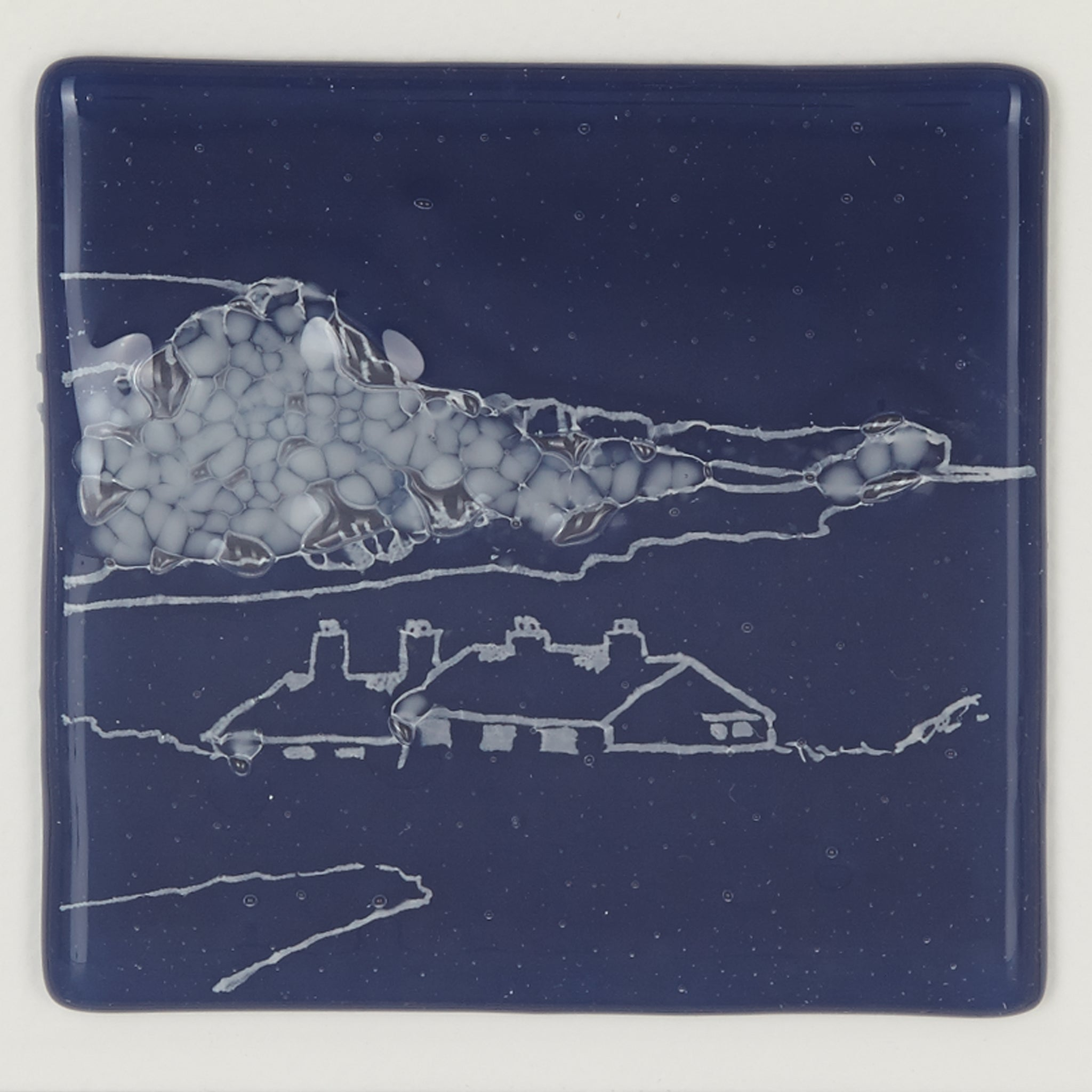 Cuckmere Haven Glass Coaster, White Cliffs
