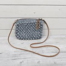 Knit Wool Crochet Bobble Purse, Cross Body Purse
