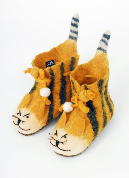 Handmade felt tiger slippers