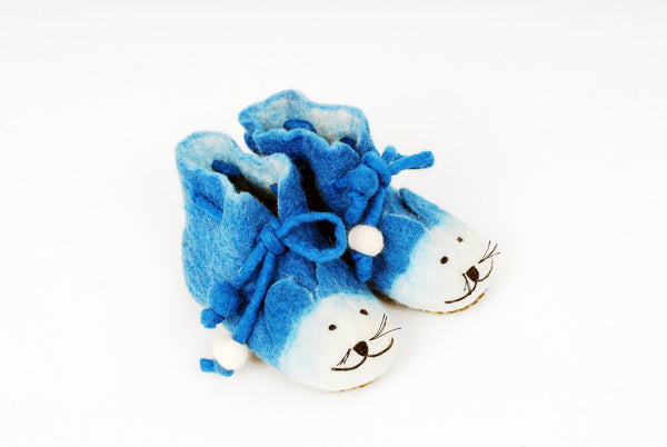 Blue Cat Felted Children's Slippers