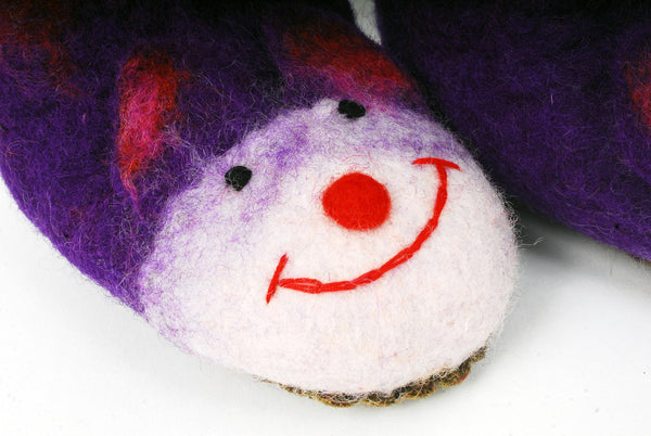 Purple felt slippers