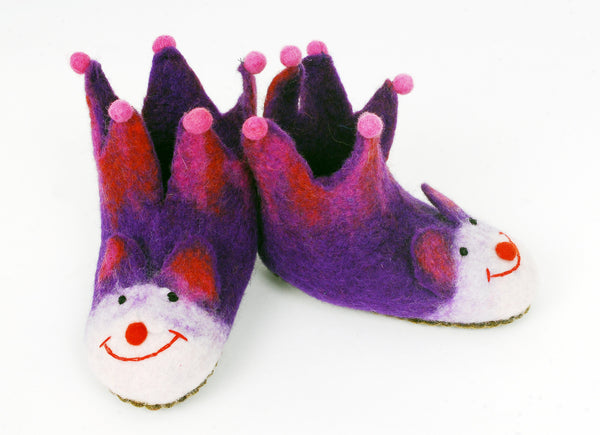 Purple and Pink Pompom Children's Slippers