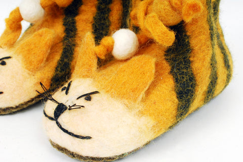 Children's Tiger Slippers - Felt Animal Booties for Kids