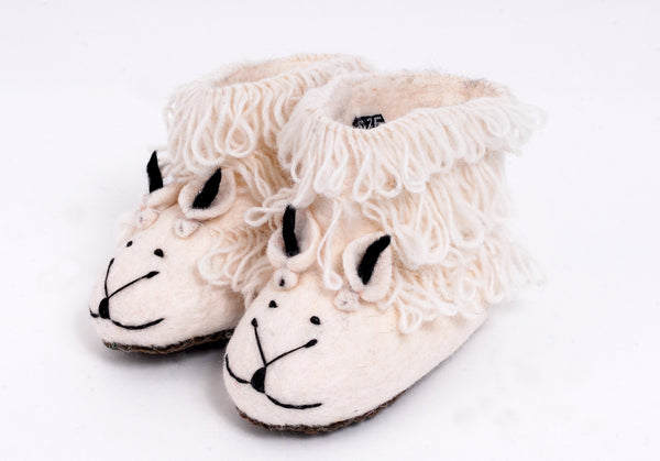 White felt sheep slippers for children