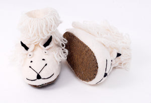 Sheep slippers made from felt