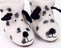 Felt spotty dog slippers