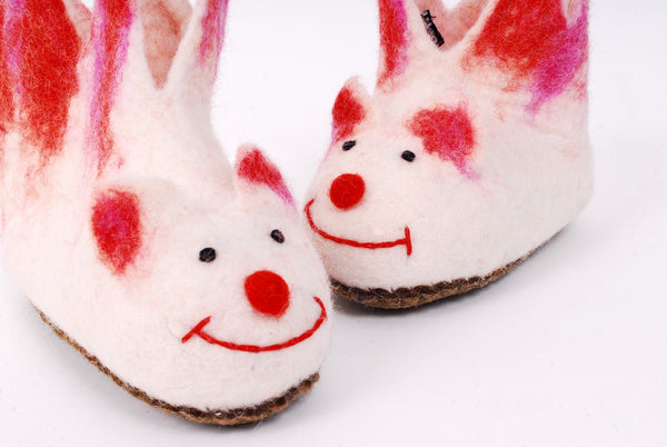 Felt slippers for children - white red and pink jesters