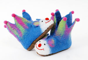 Turquoise felt jester slippers for children