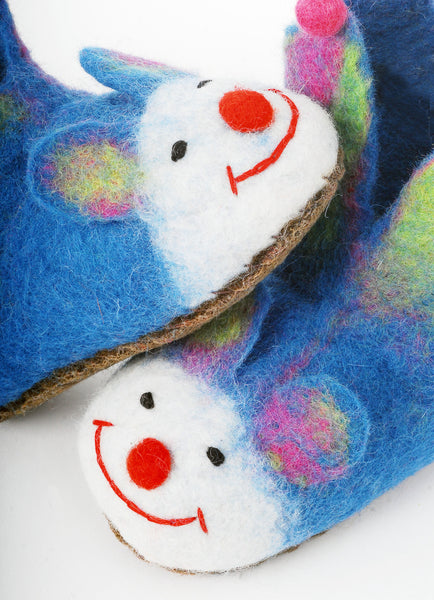 Smiling faces of felt jester slippers