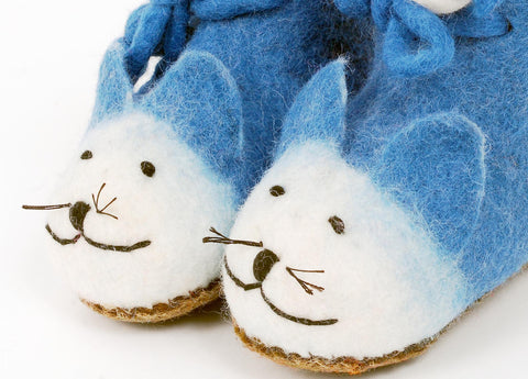 Children's Slippers, Blue Cats, Felt Animal Slippers for Kids