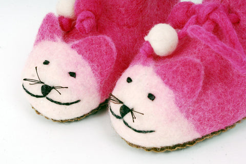 Children's 'Pink Cat' Slippers, Handmade Felt Animal Booties for Kids