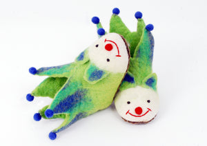 Green & Blue Pompom Felted Slippers for Kids