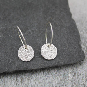 Sterling silver textured circle hoops