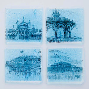 'Copper Leaf' Brighton Coasters