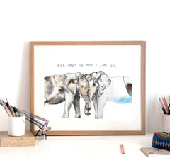'I Love You' Elephant Art Print