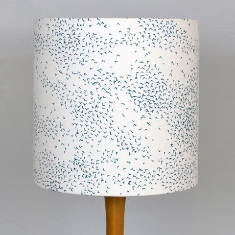 Teal Murmuration Lampshade on Ivory
