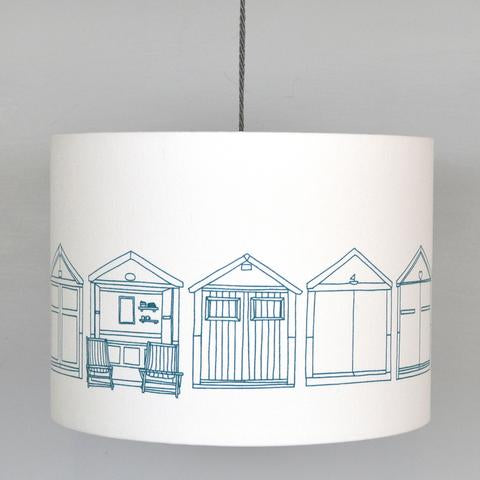 Teal Beach Hut Lampshade on Ivory