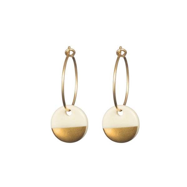 Gold / Silver Dipped Porcelain Earrings / Necklace