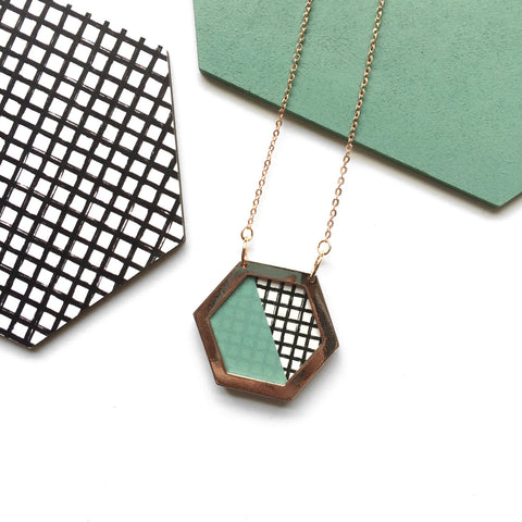 Hexagon, Geometric Rose Gold Necklace, Modern Trendy Jewellery