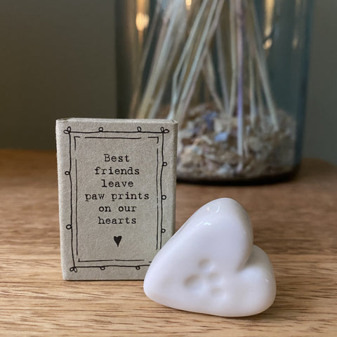"""Best friends leave paw prints on our hearts"" Porcelain Heart Matchbox"