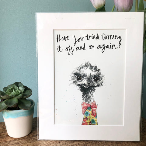 """Have you tried turning it off and on again?"" Animal Art Print"