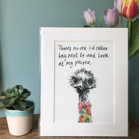 """There's no one I would rather lay next to and look at my phone"" Animal Art Print"