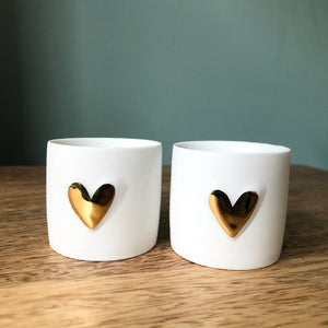 Set of Two Porcelain Candle Holders