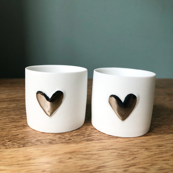 Embossed Heart Candle Holders