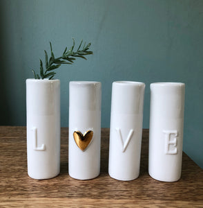 'Love' Set of Four Porcelain Vases