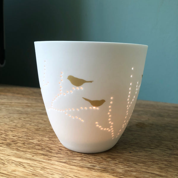 Porcelain 'Poetry' Tea Light Holders