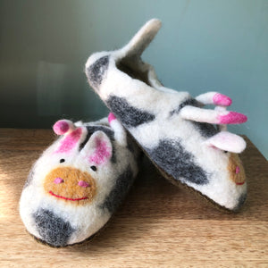 Very Amoosing Felted Cow Slippers - Adult Sizes