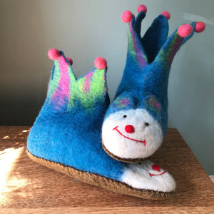 Pompomtastic Felt 'Jester' Slippers - Adult sizes