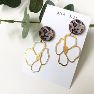 Coral Flower Drop Studs