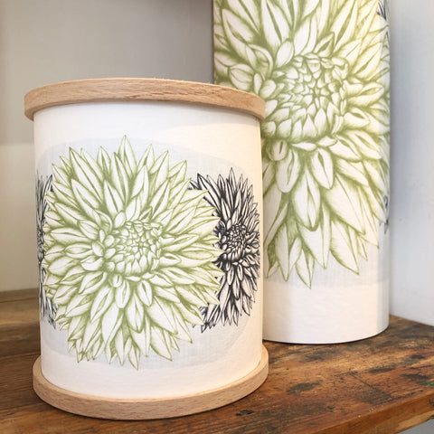 Green Dahlia Lamp, Handmade Parchment Paper Lamp