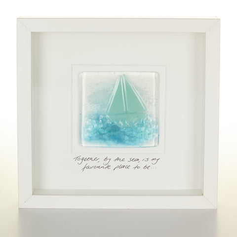 """Together, by the Sea"" Glass Boat Picture"