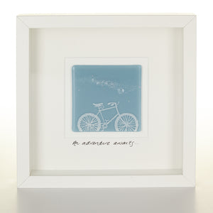 """An Adventure Awaits"" Glass Bicycle Picture"