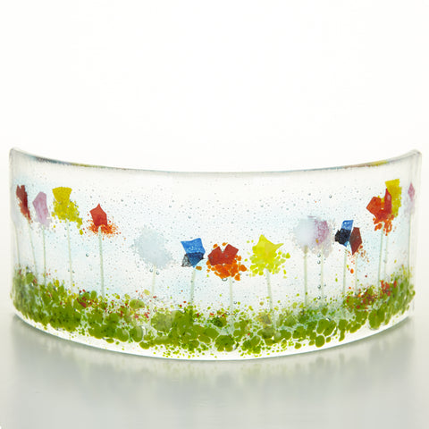 Curved Glass Light Catcher, Wild Flowers, Glass Artwork
