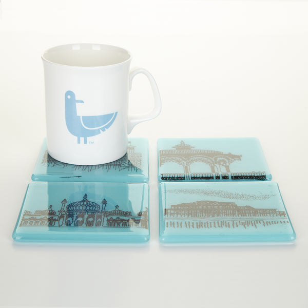 'Brighton Icons' Coasters, set of four, Glass Coasters