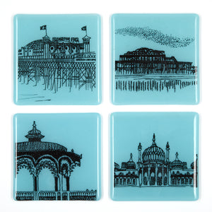 'Brighton Icons' Glass Coasters, Set of Four