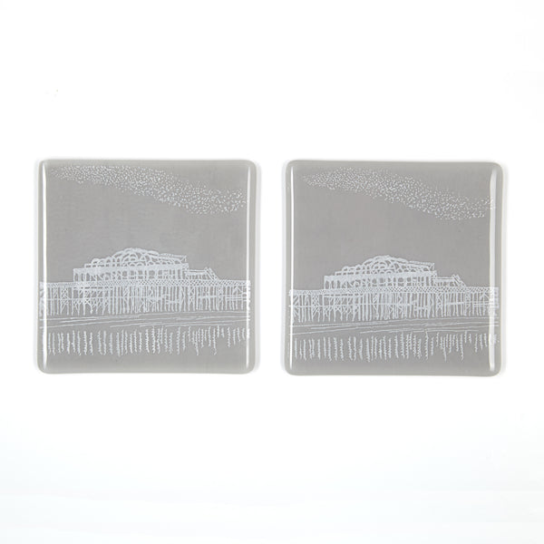 Set of Two Brighton Coasters, West Pier