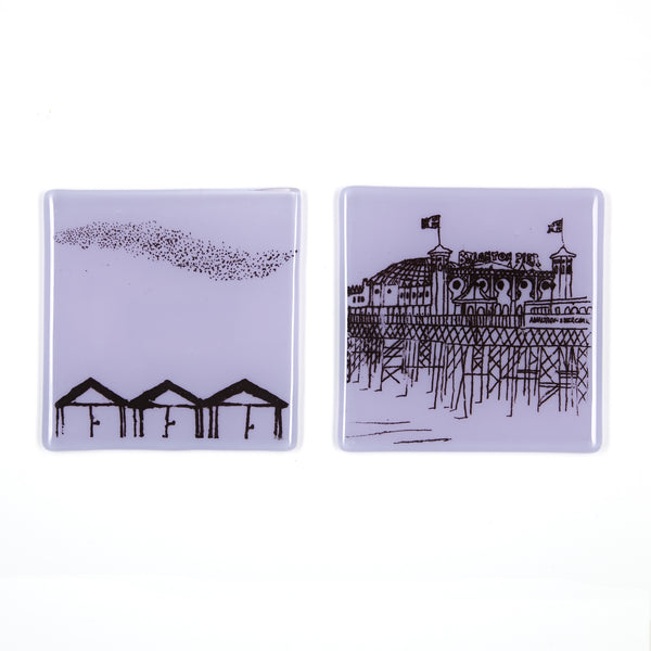 Set of Two Coasters, Beach Huts and Pier