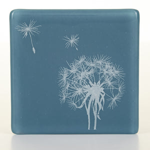 Dandelion Coaster in white, Glass Coaster