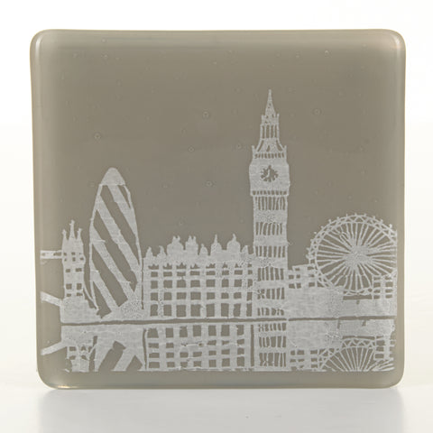 London Riverside Glass Coaster, white