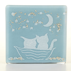 Owl and Pussycat Glass Coaster